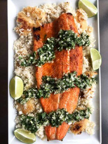 Salmon & Crispy Rice with Summer Green Salsa