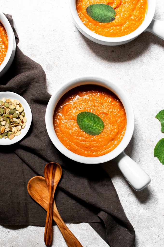 Roasted Butternut Squash Soup with Pumpkin and Carrots and pepitas