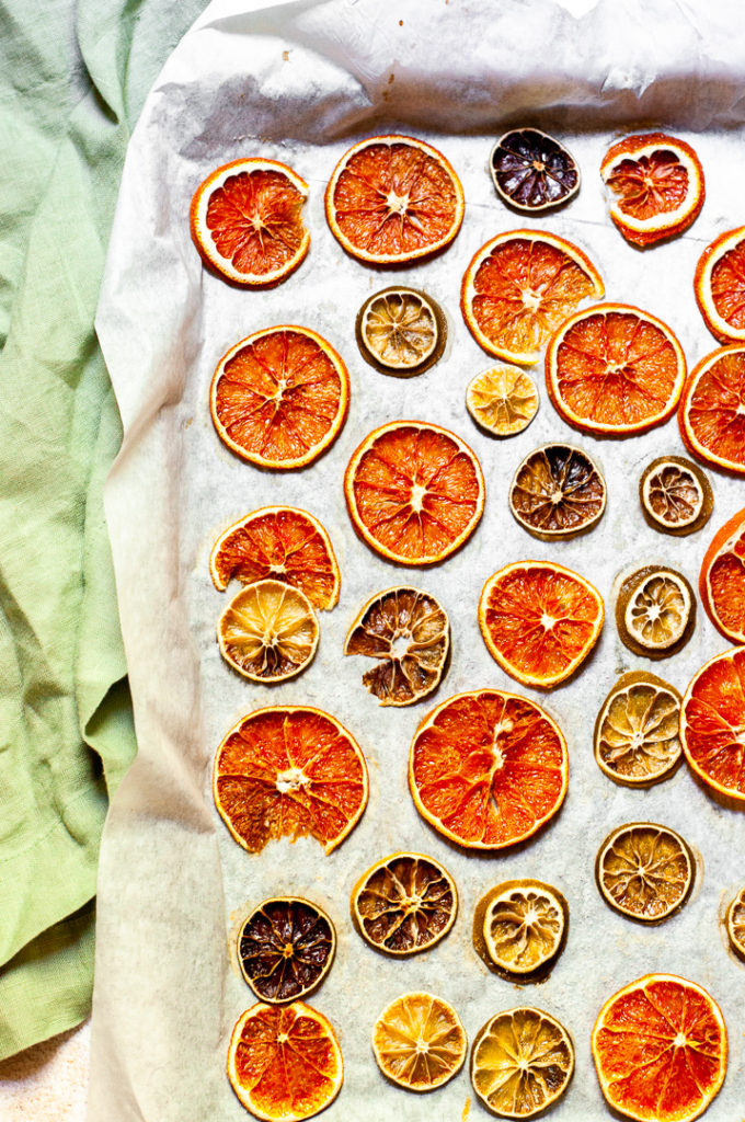 Dehydrated orange and lime slices