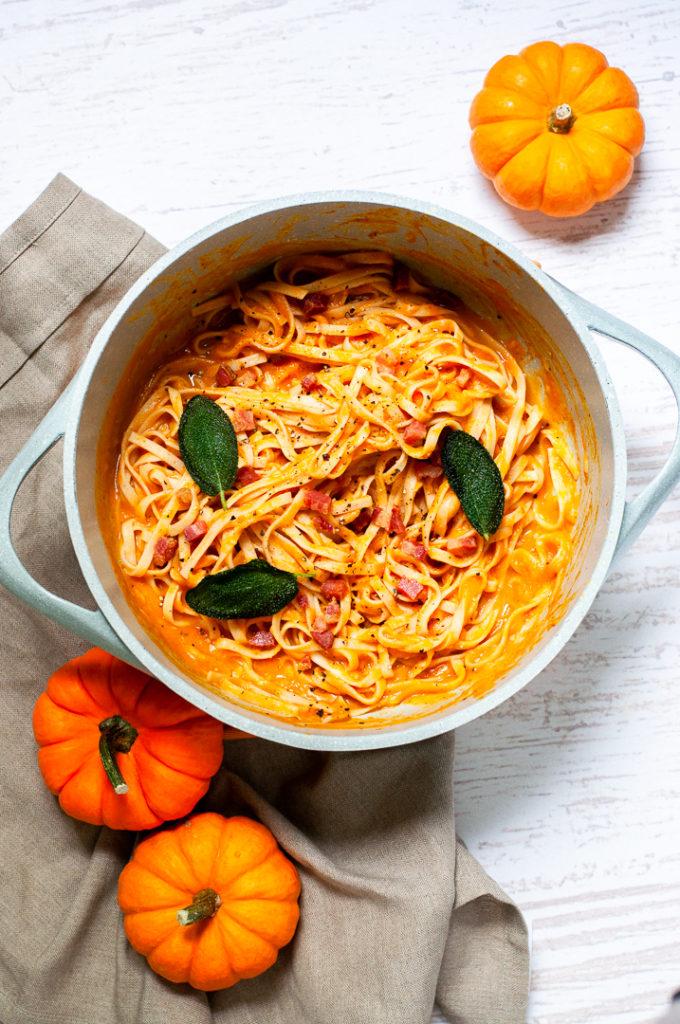 Pumpkin pasta carbonara