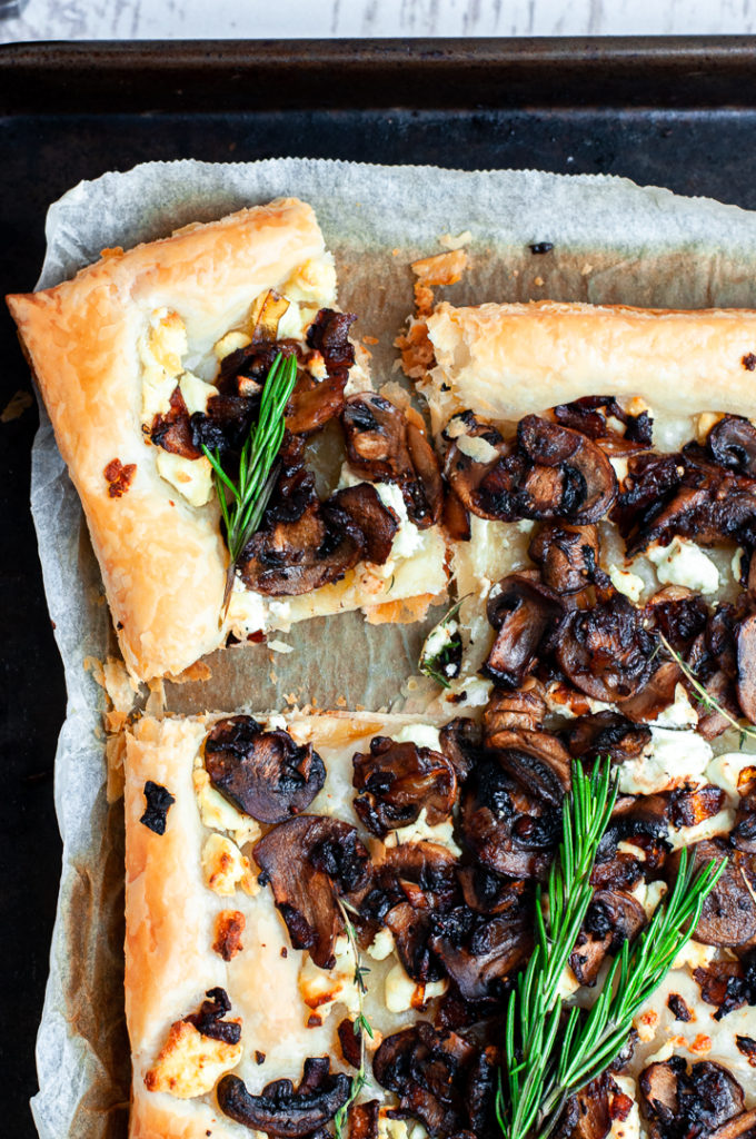 Mushroom and goat cheese tart with herbs