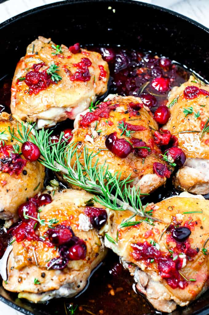 One Pan Rosemary Chicken Thighs with Cranberry Sauce