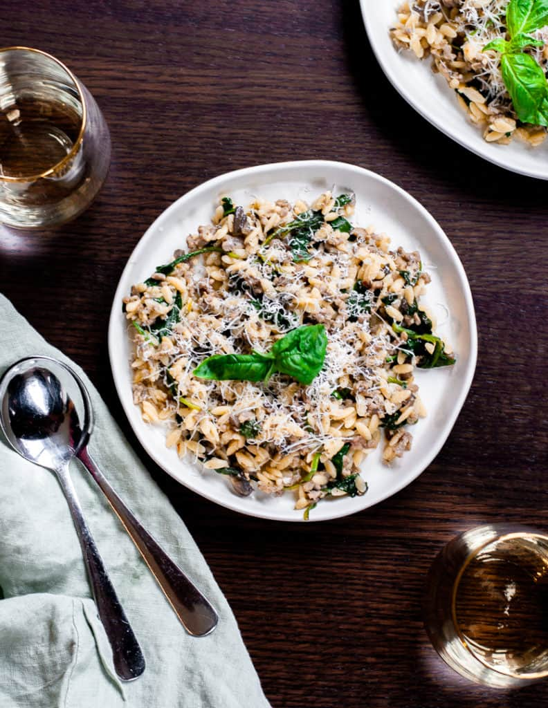 One Pot Easy Sausage and Spinach Orzo Recipe
