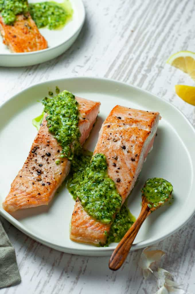 Salmon on a plate with sauce