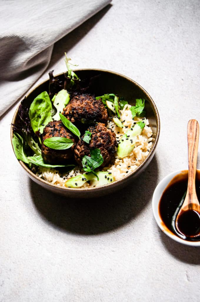 Asian meatballs in a bowl