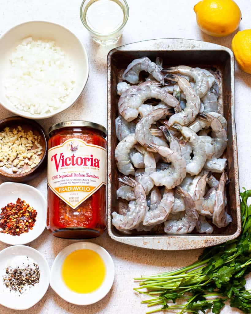 Shrimp, sauce, garlic, parsley