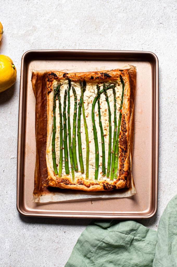 Asparagus tart on a baking tray