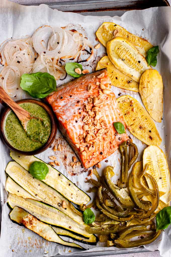 Sheet pan salmon with vegetables, peanuts, and basil
