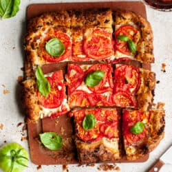 Whipped goat cheese and tomato tart