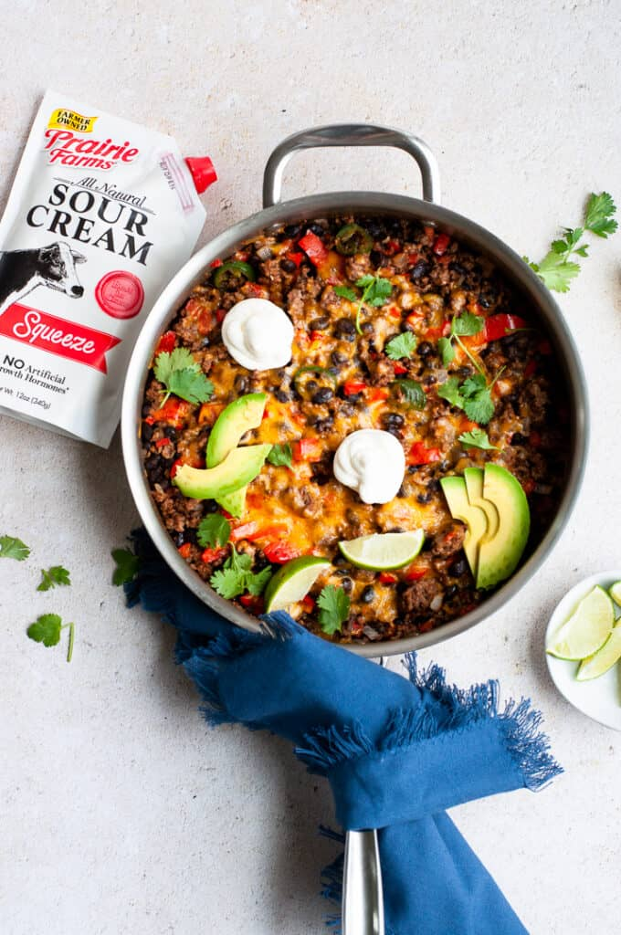 Easy One Pan Taco Skillet Recipe with sour cream