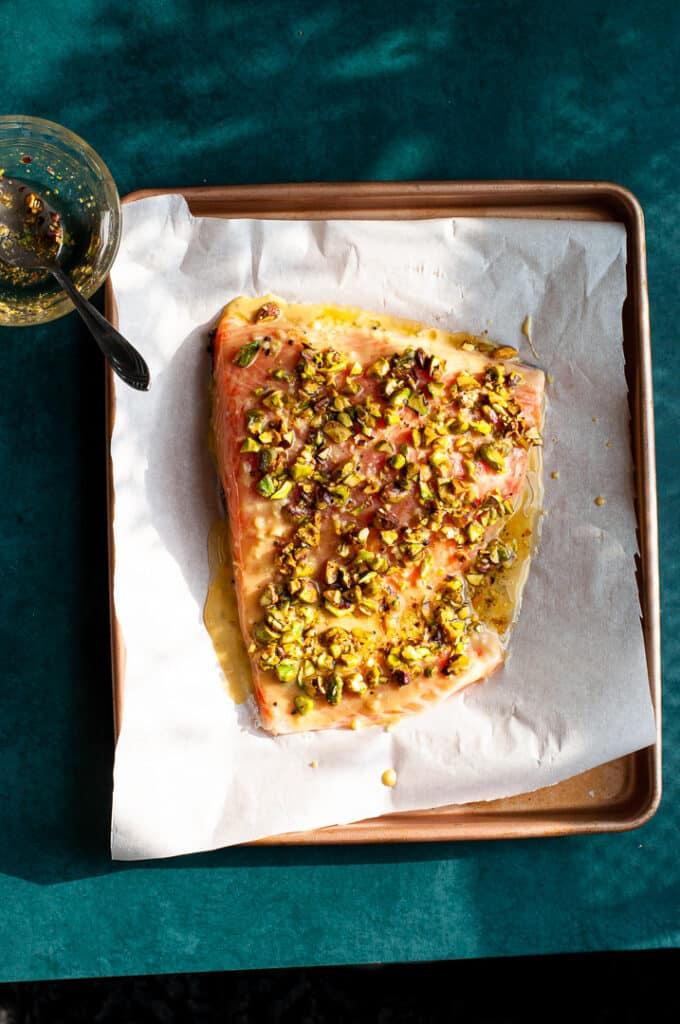 uncooked Pistachio crusted salmon