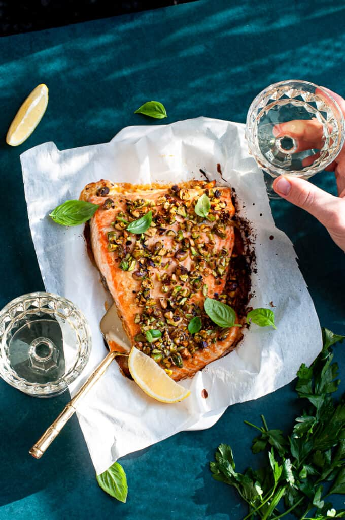 Pistachio Crusted Salmon with wine and lemons