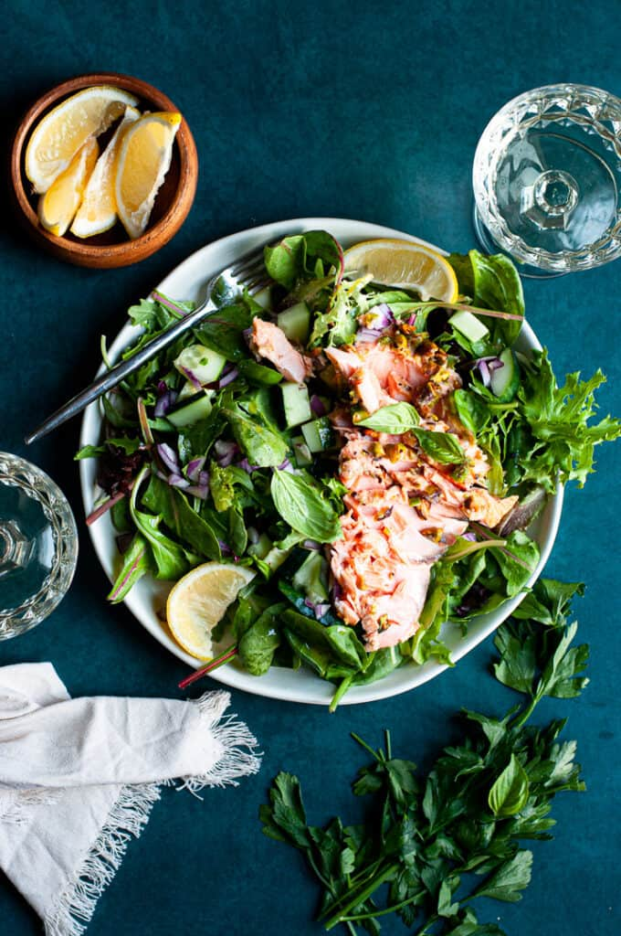 pistachio crusted salmon salad
