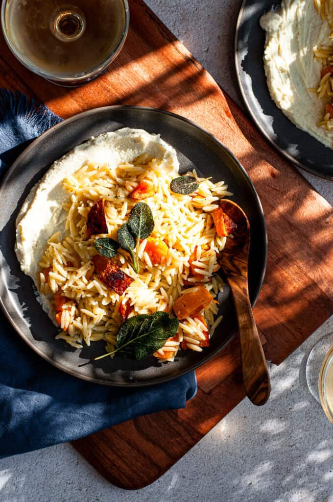 Butternut Squash Orzo with Whipped Feta