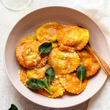 Browned butter pumpkin sauce with ravioli