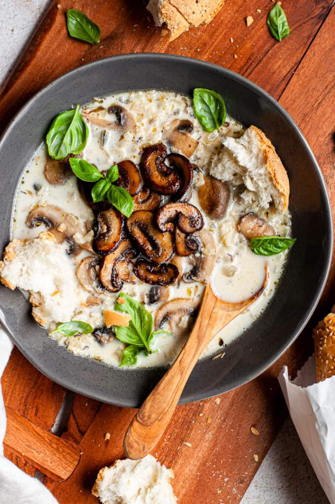Wild Rice Mushroom Soup with bread in a bowl